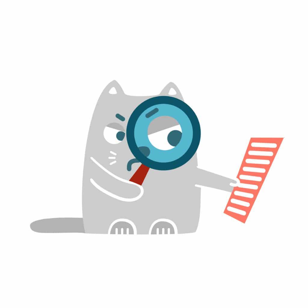 dessin chat avec une loupe