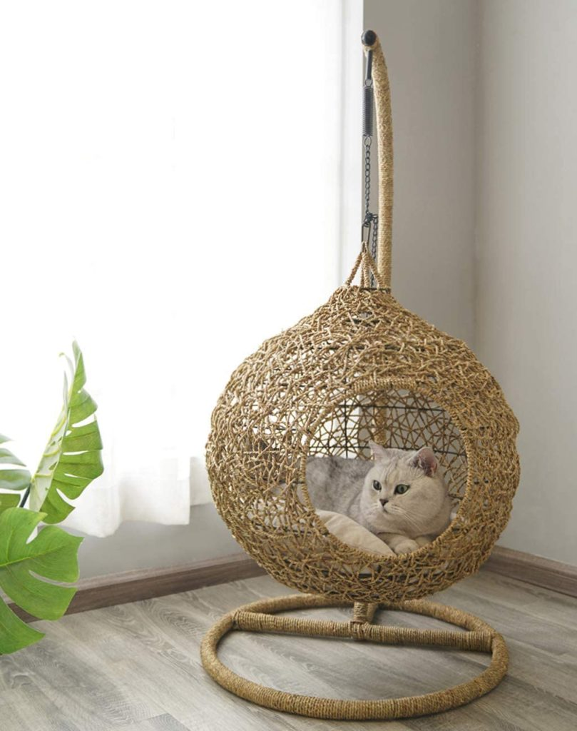 panier pour chat en rotin suspendu