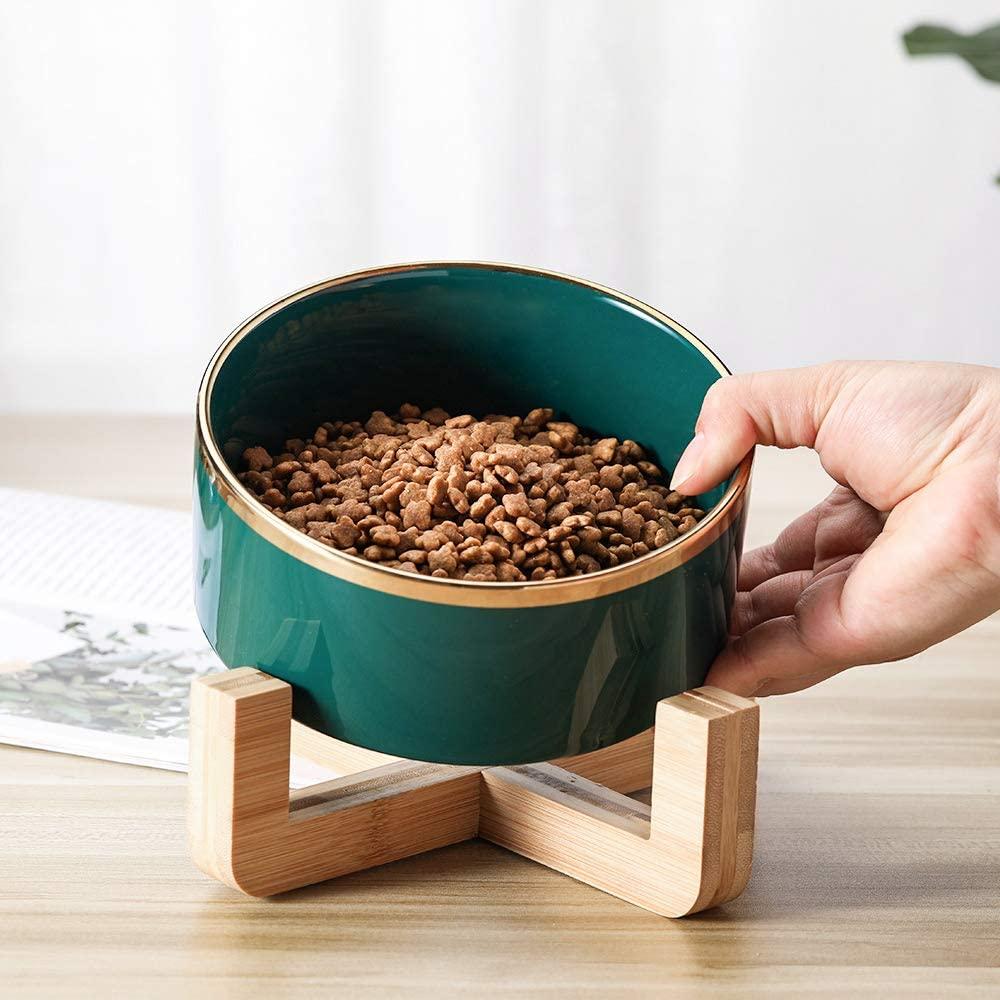 HCHLQLZ Vert Gamelles pour Chat Céramique Support Bambou