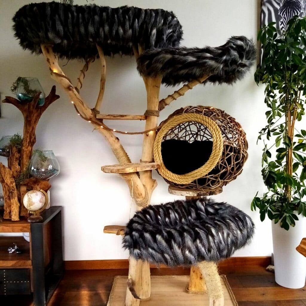 A chat qu'un son arbre arbre à chat en bois massif et naturel