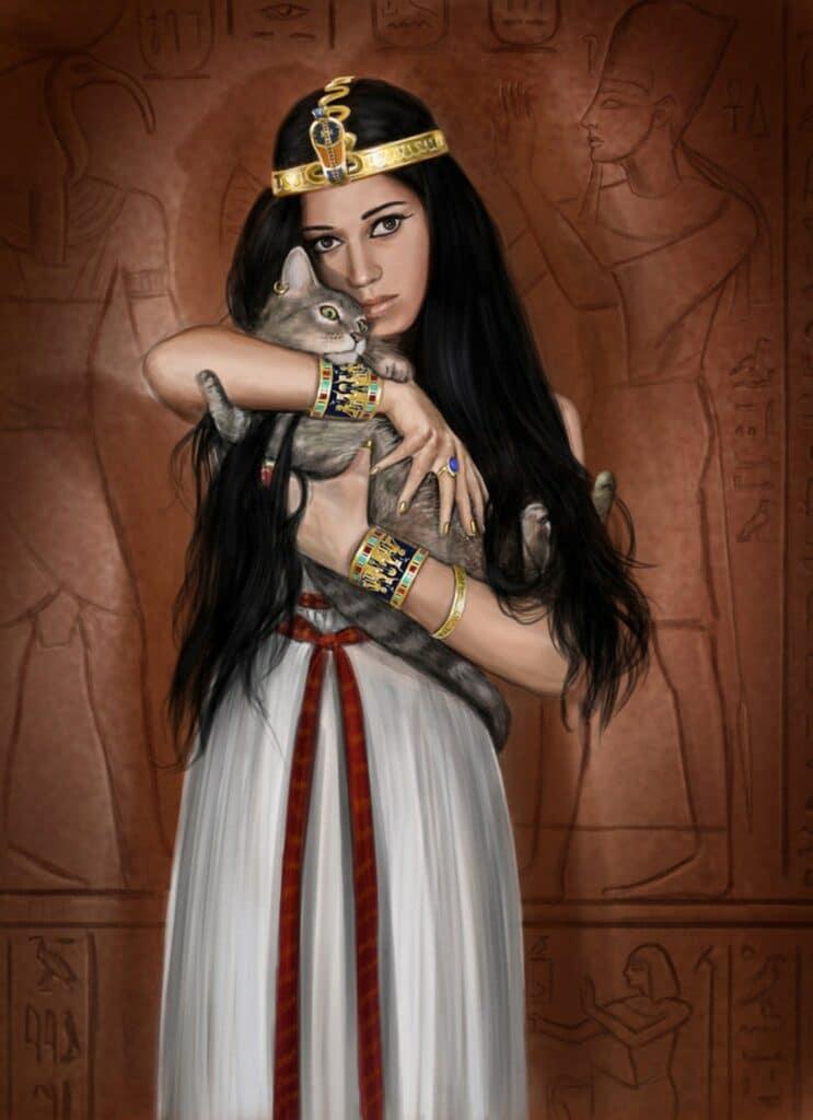 Peinture Reine égyptienne avec son chat bastet