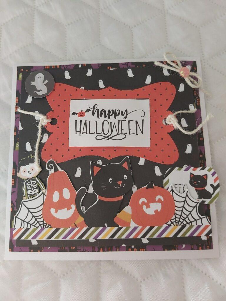 Carte fait main pour enfant Halloween scrapbooking 3d
