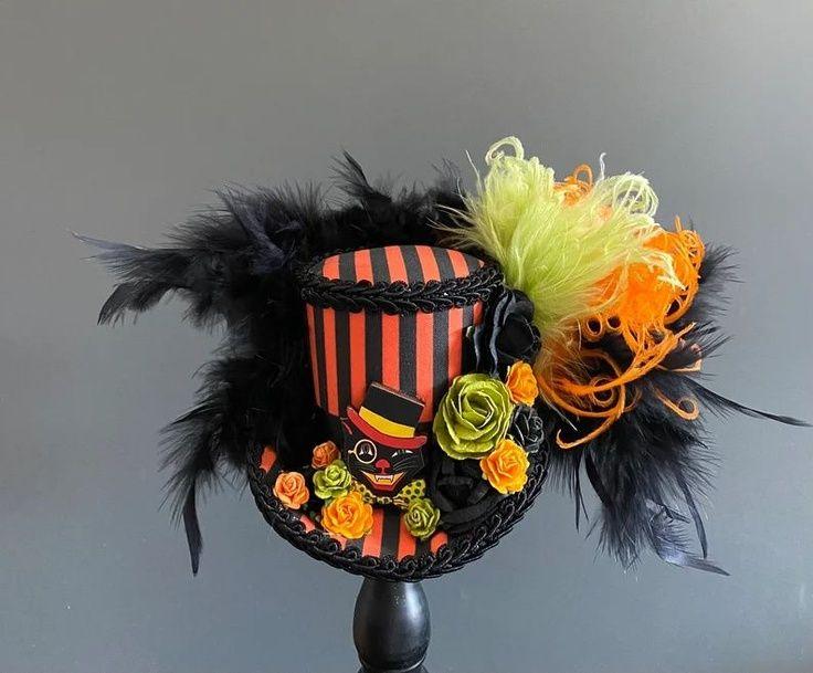 Magnifique mini chapeau halloween vintage chat
