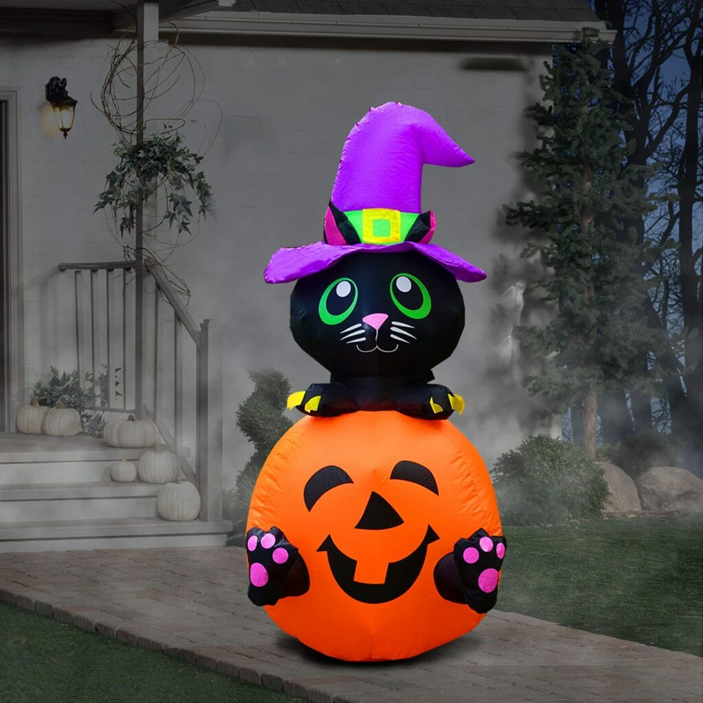 PARAYOYO Chat citrouille gonflable Halloween
