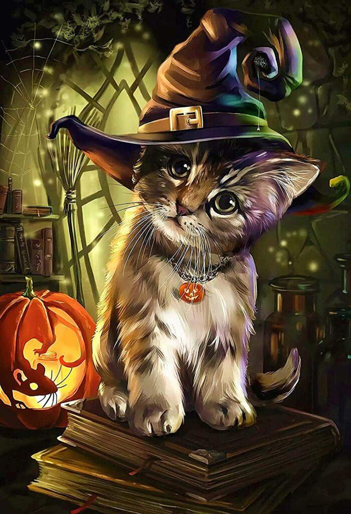 Puzzle 1000 pièces chat Halloween
