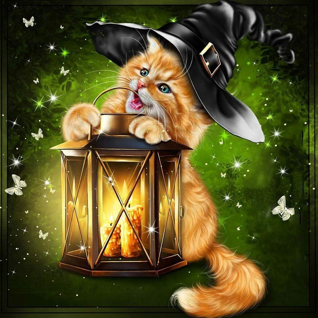 Puzzle 1000 pièces chat roux Halloween