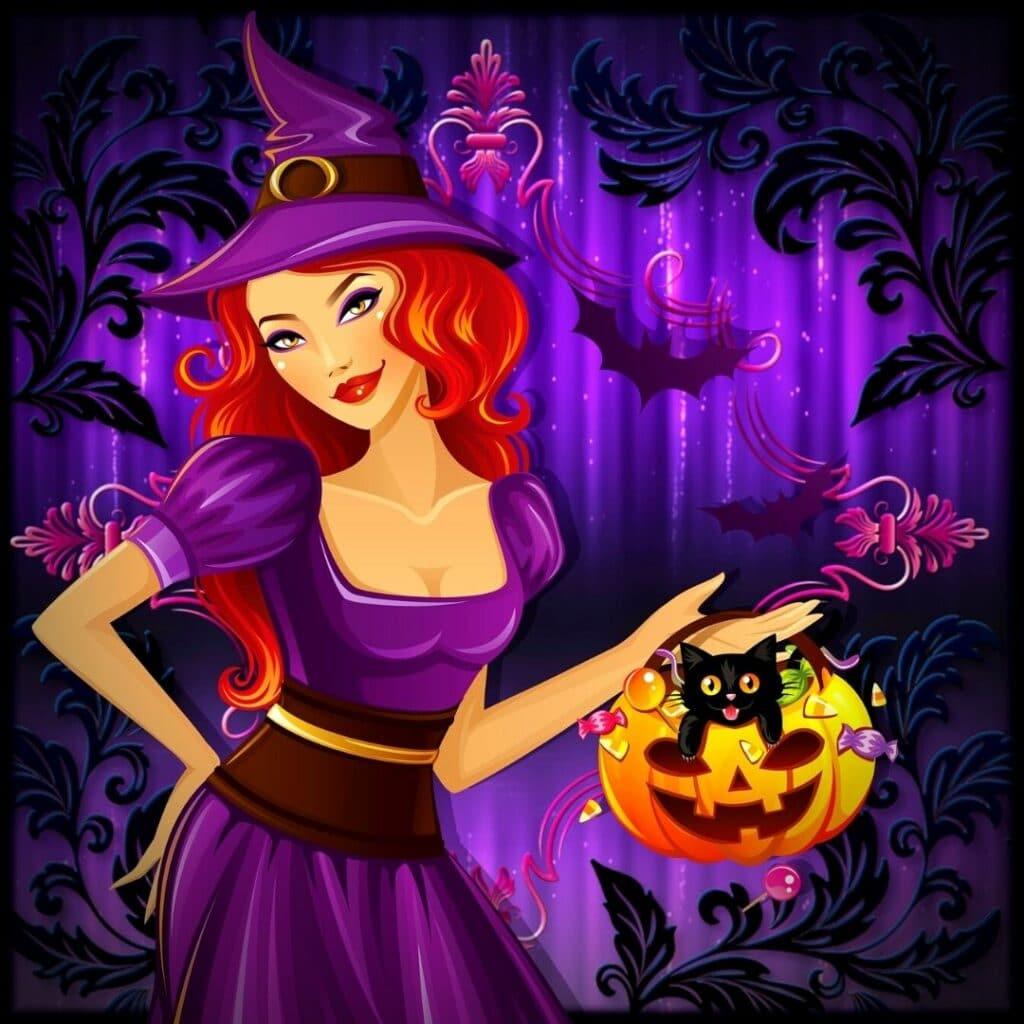 sorciere et son chat Halloween